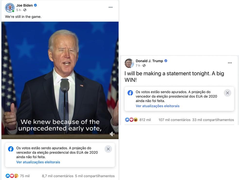 Facebook adicionou selo que diz que votos ainda estão sendo contados em publicações dos dois candidatos. — Foto: Reprodução
