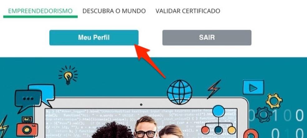 Ação para acessar seu perfil no site Brasil Mais Digital — Foto: Reprodução/Marvin Costa