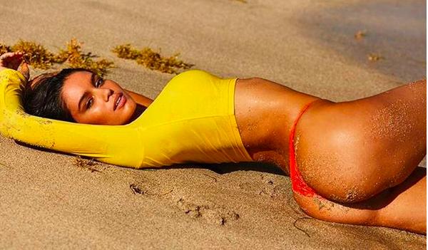 A modelo brasileira Anne de Paula em foto do ensaio para a revista Sports Illustrated (Foto: Instagram)