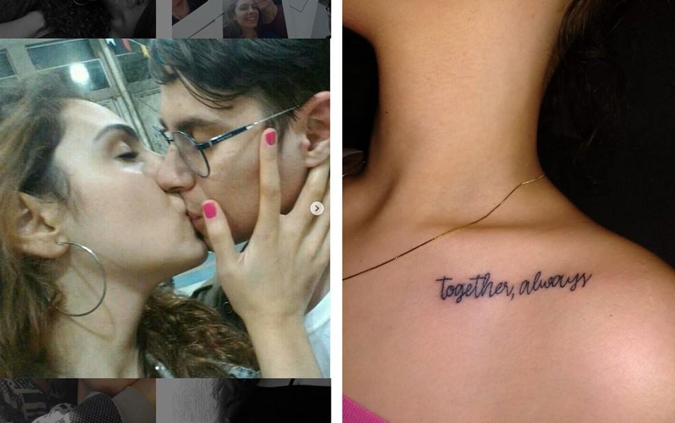 Isabela Tibcherani fez tatuagem em homenagem ao namorado Rafael Miguel, morto em 9 de junho em São Paulo pelo pai dela. 'Sempre juntos', diz a frase — Foto: Reprodução/Arquivo pessoal