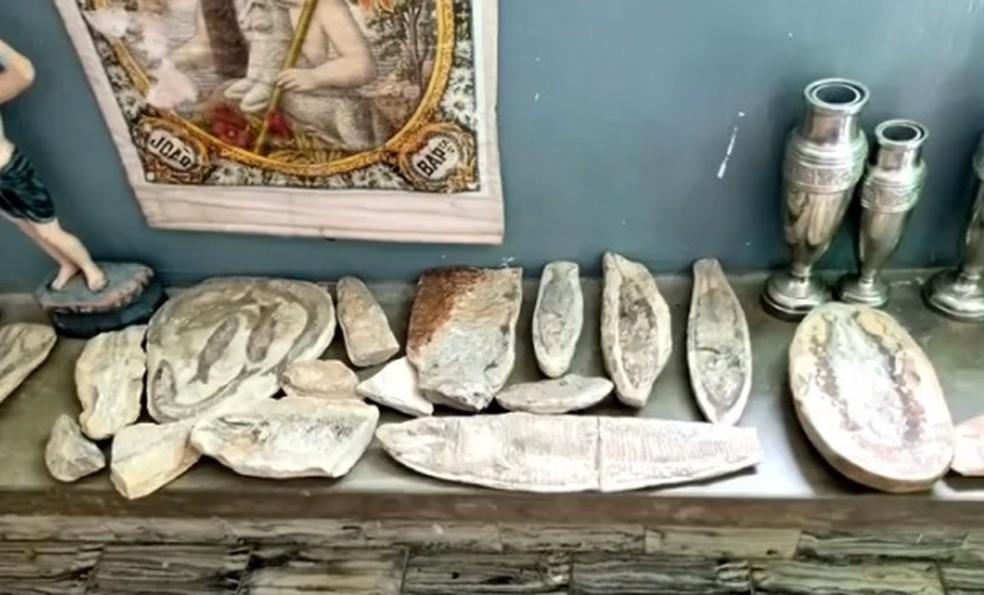 Fósseis roubados do Cariri são encontrados na casa de padre do Rio Grande do Norte. — Foto: Reprodução