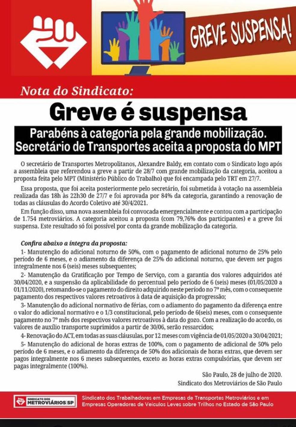 Nota do Sindicato dos Metroviários de São Paulo anuncia fim da greve — Foto: Reprodução / Facebook / Sindicato dos Metroviários de São Paulo