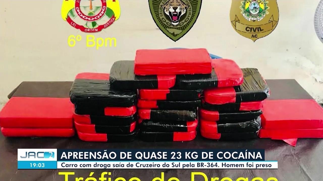 Homem é preso com quase 23 quilos de droga em Cruzeiro do Sul