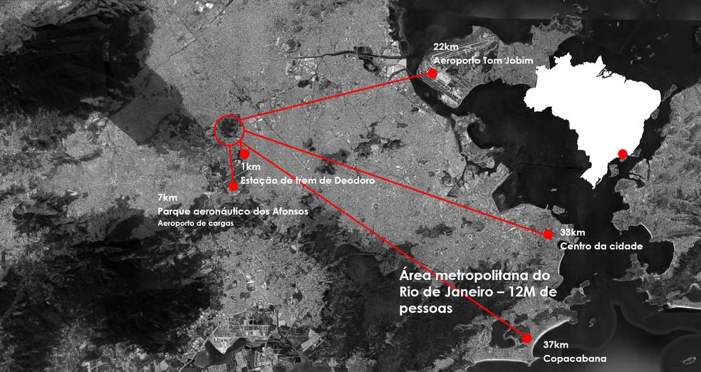 Mapa do Rio de Janeiro e a localização do terreno em Deodoro para novo autódromo — Foto: Divulgação