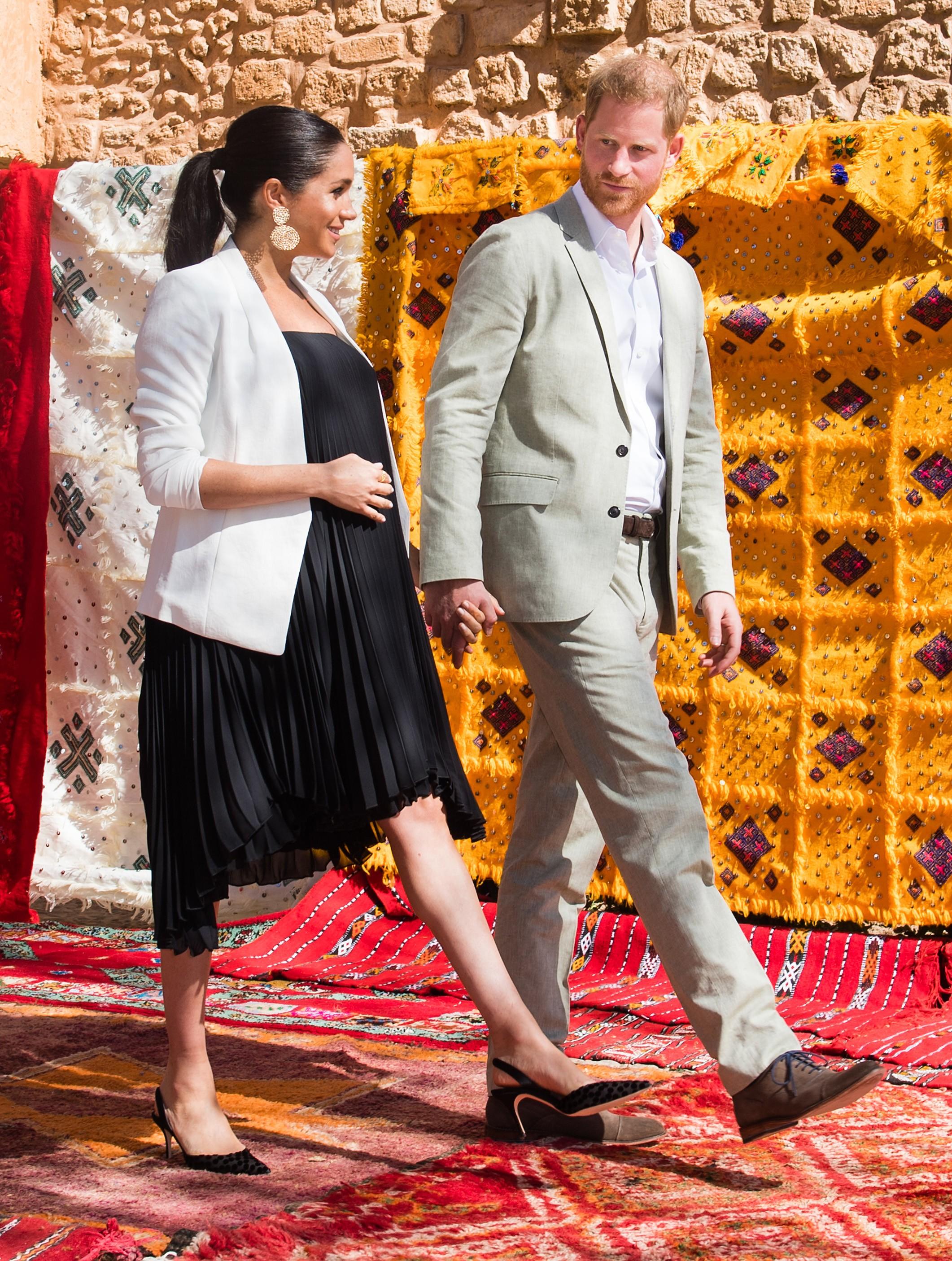 A atriz e duquesa Meghan Markle durante a viagem dela com o marido ao Marrocos (Foto: Getty Images)