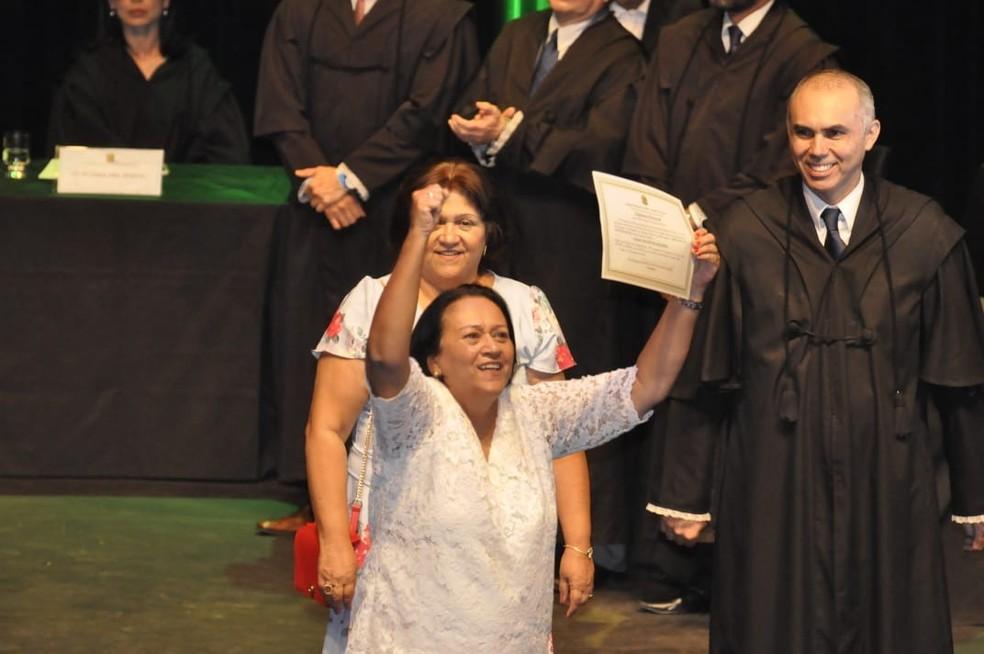 Governadora eleita do RN Fátima Bezerra foi diplomada nesta quarta-feira (19) — Foto: Assessoria de Imprensa