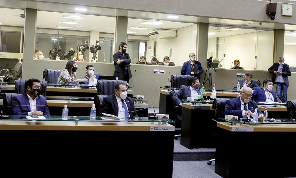 Comissão especial de impeachment do governador Wilson Lima e vice em sessão na Assembleia Legislativa do Amazonas. — Foto: Divulgação/Aleam