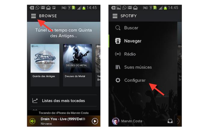 Acessando as configurações do Spotify para Android (Foto: Reprodução/Marvin Costa)