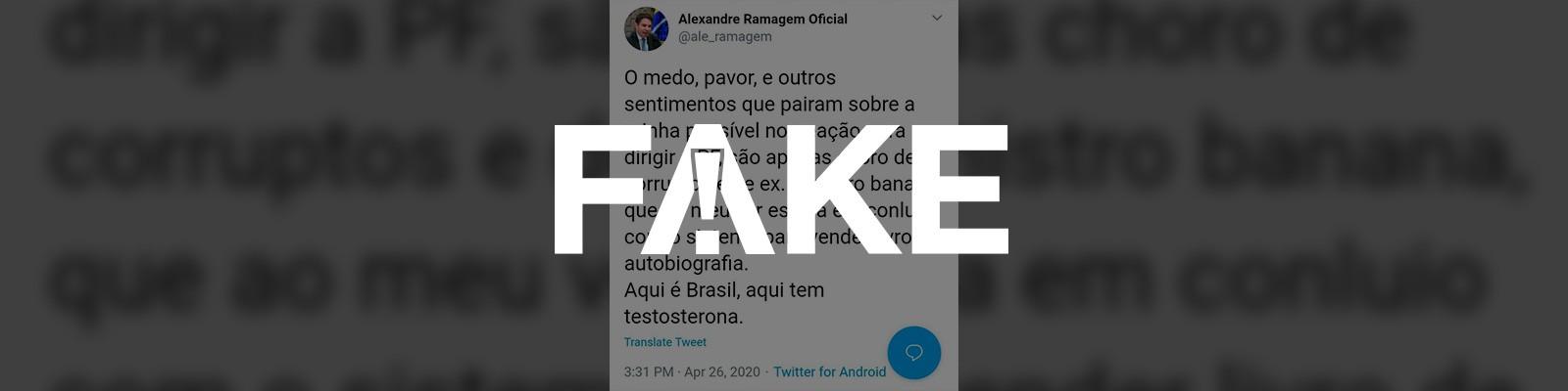 É #FAKE que diretor da Abin fez post xingando Moro e dizendo que corruptos temem sua nomeação à PF