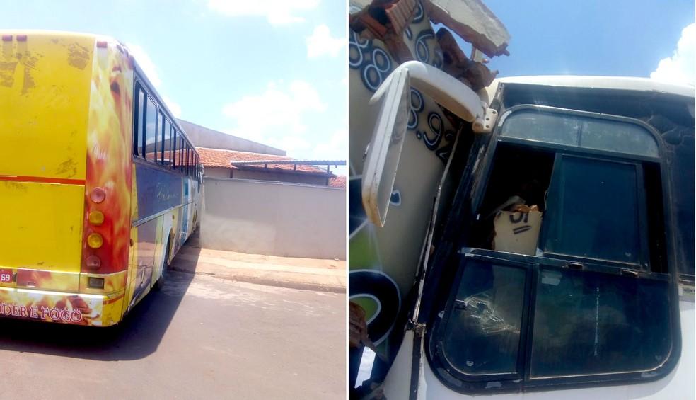 Ônibus estacionado perde freio e destrói muro de casa em Ibitinga — Foto: Arquivo pessoal