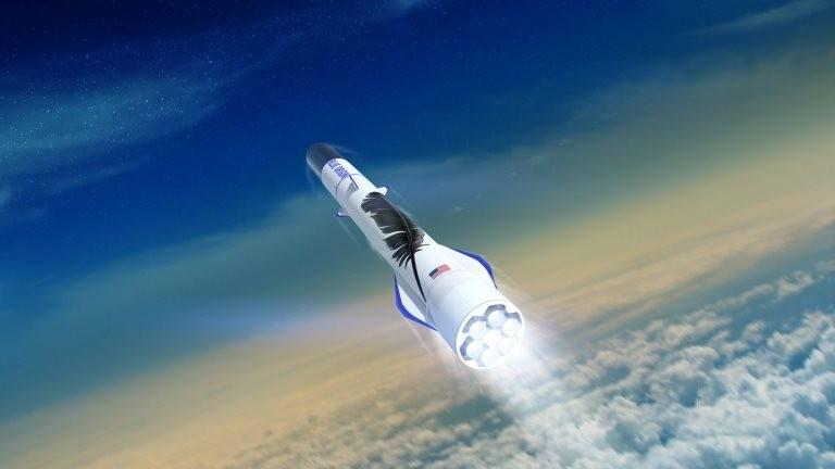 O New Glenn, na foto, é um dos foguetes desenvolvidos pela Blue Origin; a empresa é considerada a mais cautelosa na nova corrida espacial (Foto: Reuters via BBC)