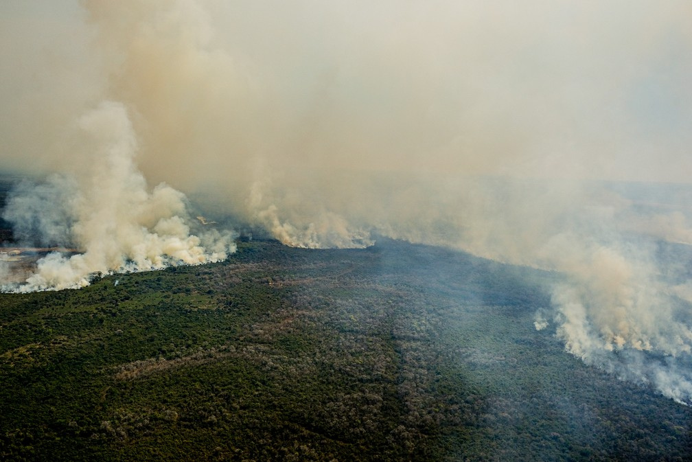 Calor a baixa umidade contribuem para o avanço das chamas — Foto: Mayke Toscano/Secom-MT