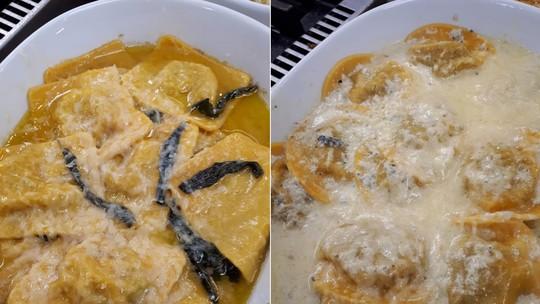 Ravióli Vegetariano X Carnívoro do Chef Roberto Ravioli