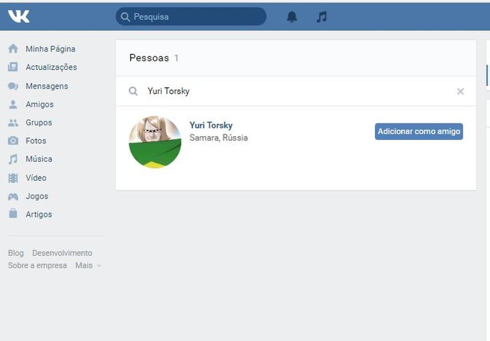 Busca por amigos no VK é simples, basta usar o campo de pesquisa da rede social — Foto: Reprodução/ Taysa Coelho