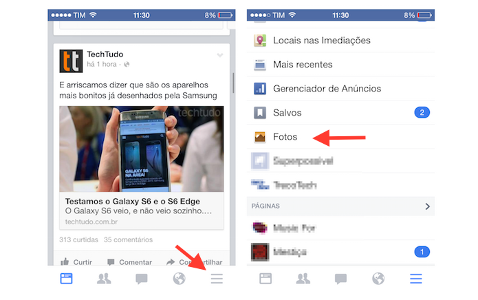 Acessando os álbuns de fotos do Facebook pelo iPhone (Foto: Reprodução/Marvin Costa)