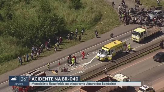 BR-040 é liberada após socorro a motociclista atropelado por viatura dos bombeiros