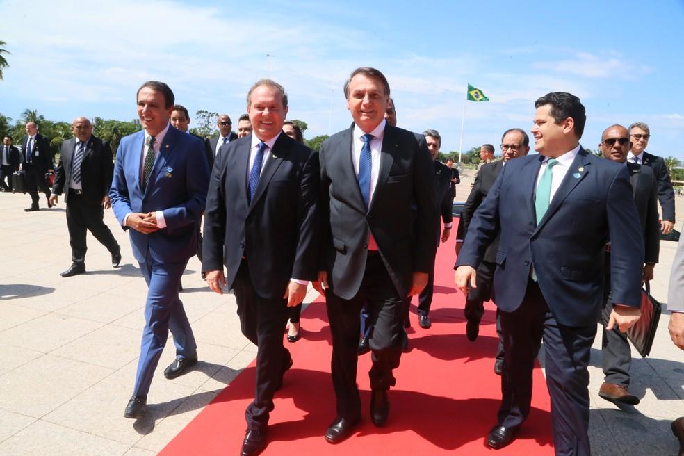 Presidente Jair Bolsonaro  ao chegar no Palácio Araguaia em Palmas — Foto: Márcio Vieira/Governo do Tocantins