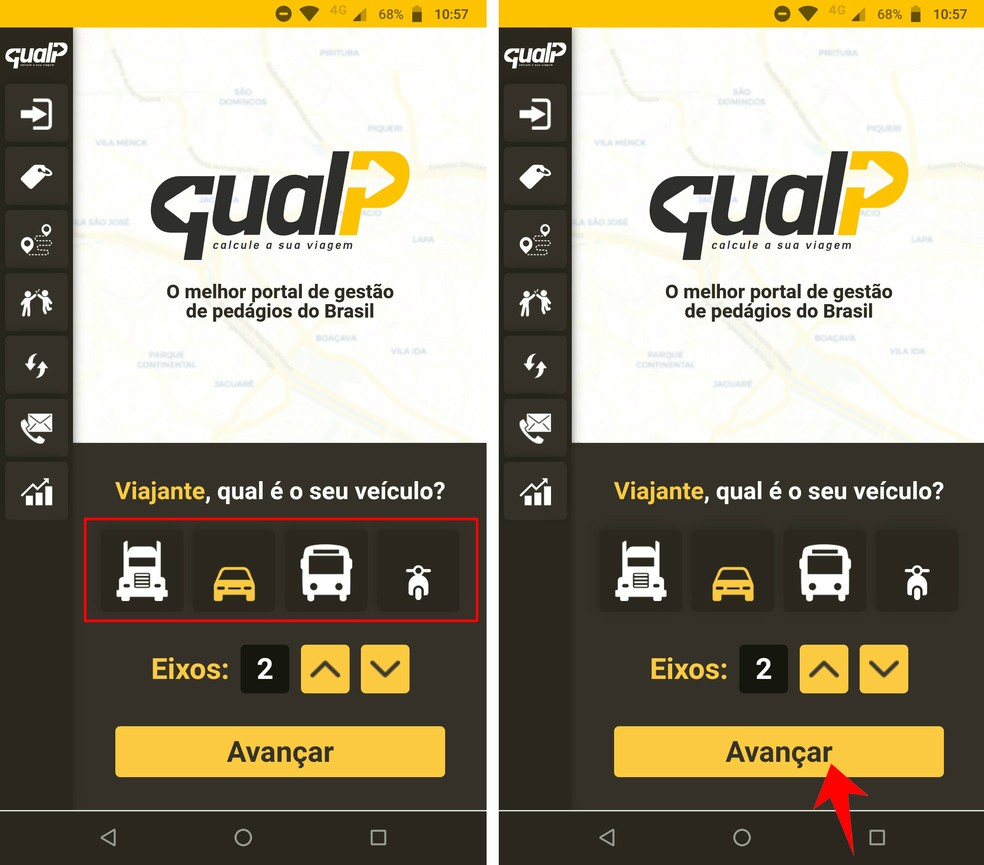 QualP permite calcular pedágio e combustível da viagem de acordo com o veículo utilizado — Foto: Reprodução/Rodrigo Fernandes