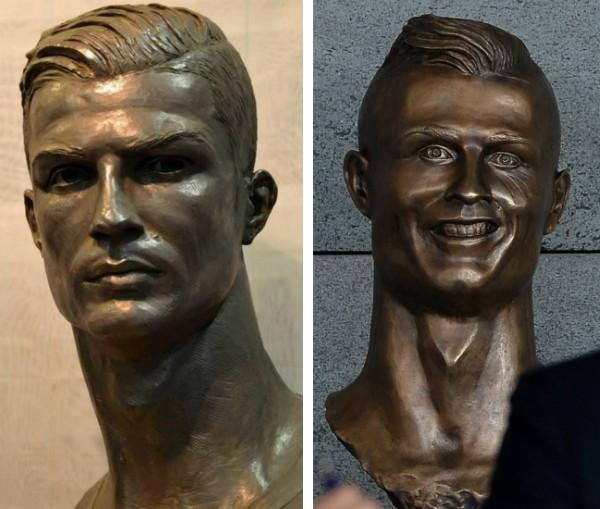 O busto de Cristiano Ronaldo no Museu do Real Madrid e a escultura presente no aeroporto da Ilha da Madeira (Foto: Facebook/Getty Images)