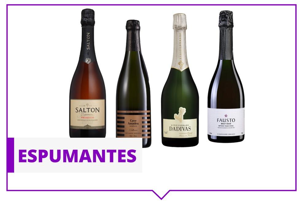 Especialistas indicam 4 espumantes para quem quer começar a apreciar vinhos. — Foto: Arte / G1.