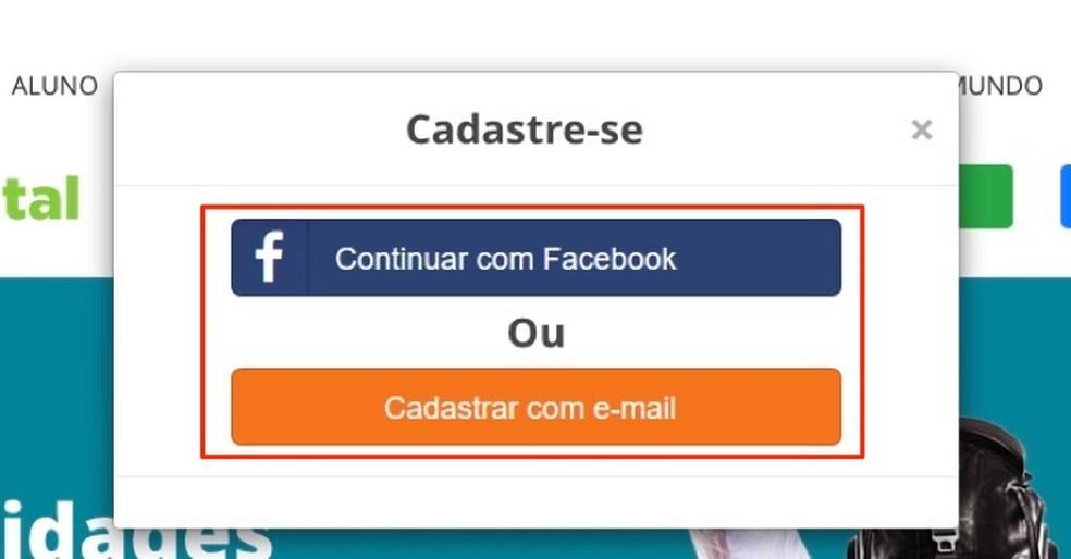 Opções para iniciar um novo cadastro no site Brasil Mais TI — Foto: Reprodução/Marvin Costa