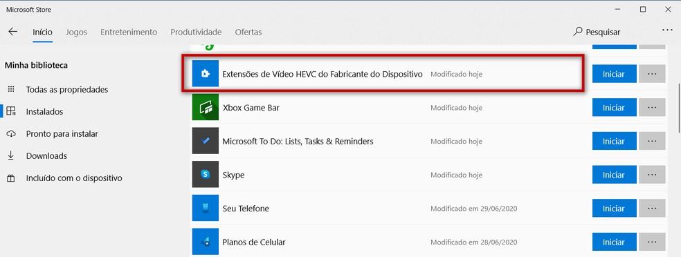 Seção 'Minha biblioteca' do App da 'Microsoft Store' indica se componente está instalado — Foto: Reprodução