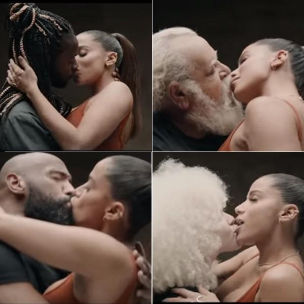 Anita troca beijos em clipe (Foto: Reprodução)