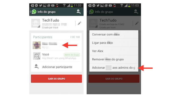 Escolhendo um novo administrado para um grupo do WhatsApp no Android (Foto: Reprodução/Marvin Costa)