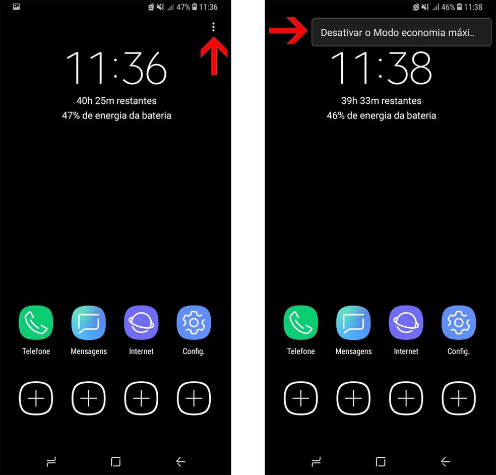Abra o menu no canto superior direito para desativar o modo economia do Galaxy S9 (Foto: Reprodução/Bruno De Blasi)