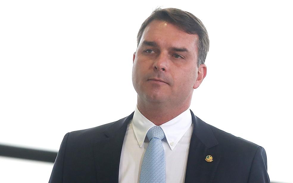 Senador Flavio Bolsonaro, filho do presidente Jair Bolsonaro, em imagem no Palácio do Planalto — Foto: Dida Sampaio/Estadão Conteúdo