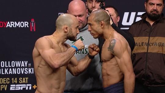 Marlon e Aldo surpreendem com encarada intensa; Covington é vaiado na pesagem do UFC 245