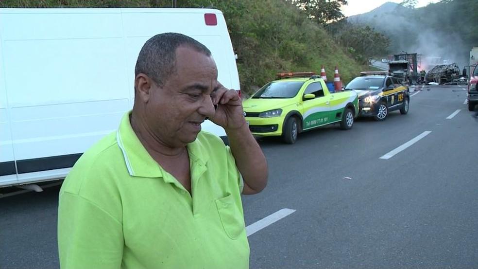 Ednor Bispo Pereira era o motorista do caminhão que vinha atrás da carreta com as chapas de granito (Foto: Reprodução/ TV Gazeta)
