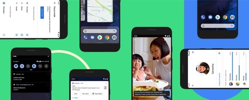 Modo noturno, novidades de segurança e privacidade, e assistente de voz turbinado são algumas novidades do Android 10. — Foto: Divulgação/Google