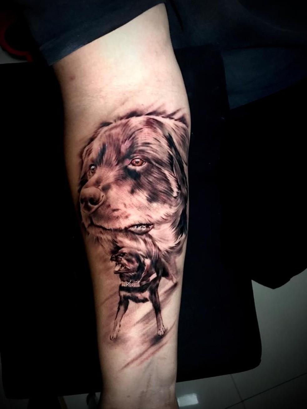 Hugo Haphonso Bosco tatuou o rosto do cão herói Thor — Foto: Divulgação/Prefeitura de São Vicente