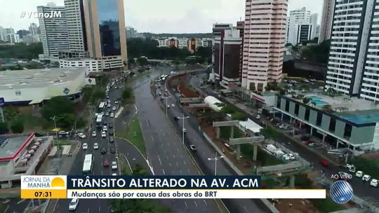 Trânsito é alterado na Avenida ACM, em Salvador, para obras do BRT; mudanças seguem até 2020