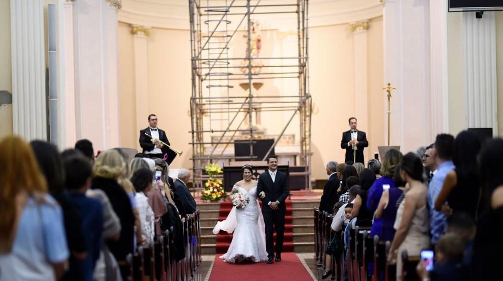 Estrutura apareceu em quase todas as fotos do casamento em Sorocaba  — Foto: Arquivo Pessoal