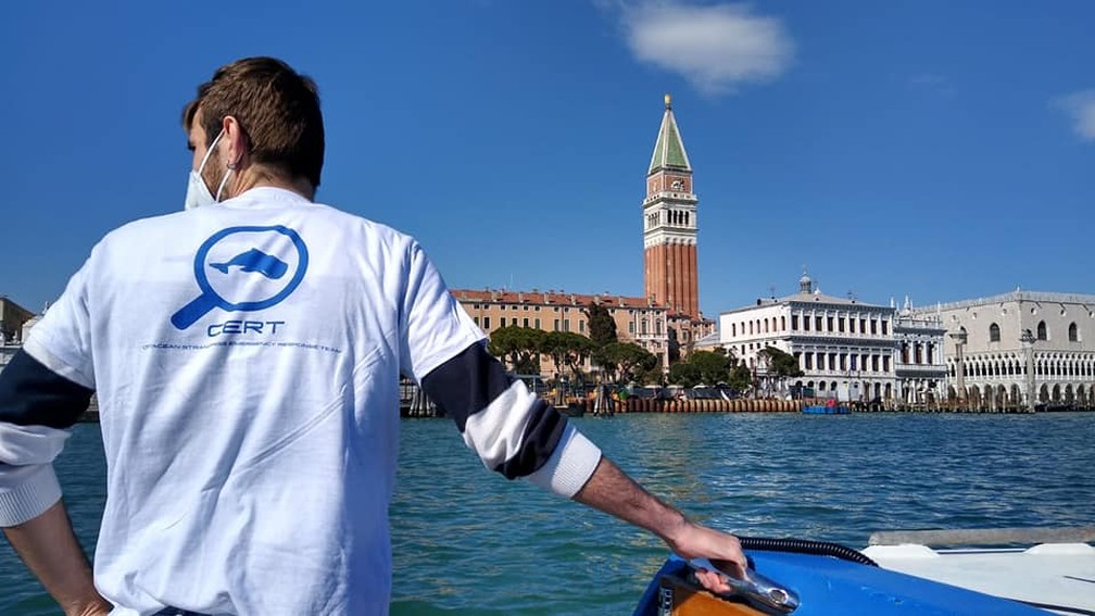 Voluntário do CERT participa de operação de resgate de golfinhos no Grande Canal de Veneza em 22 de março de 2021 — Foto: Reprodução/CERT