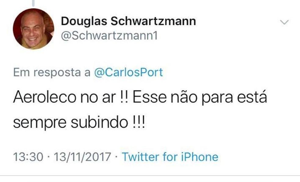 """Douglas Schwartzmann faz publicação em rede social ironizando """"Aeroleco"""" — Foto: Reprodução/Twitter"""