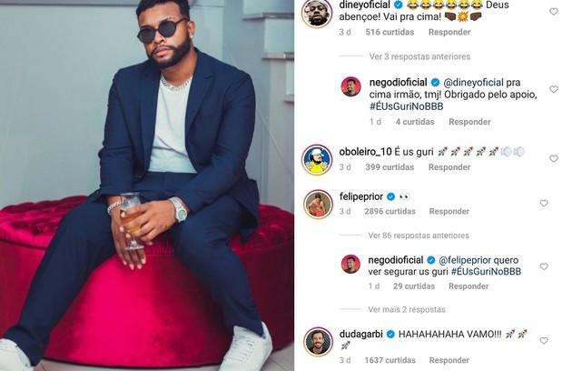 """O humorista Nego Di recebeu o apoio do ex-""""BBB"""" Felipe Prior (Foto: Reprodução)"""