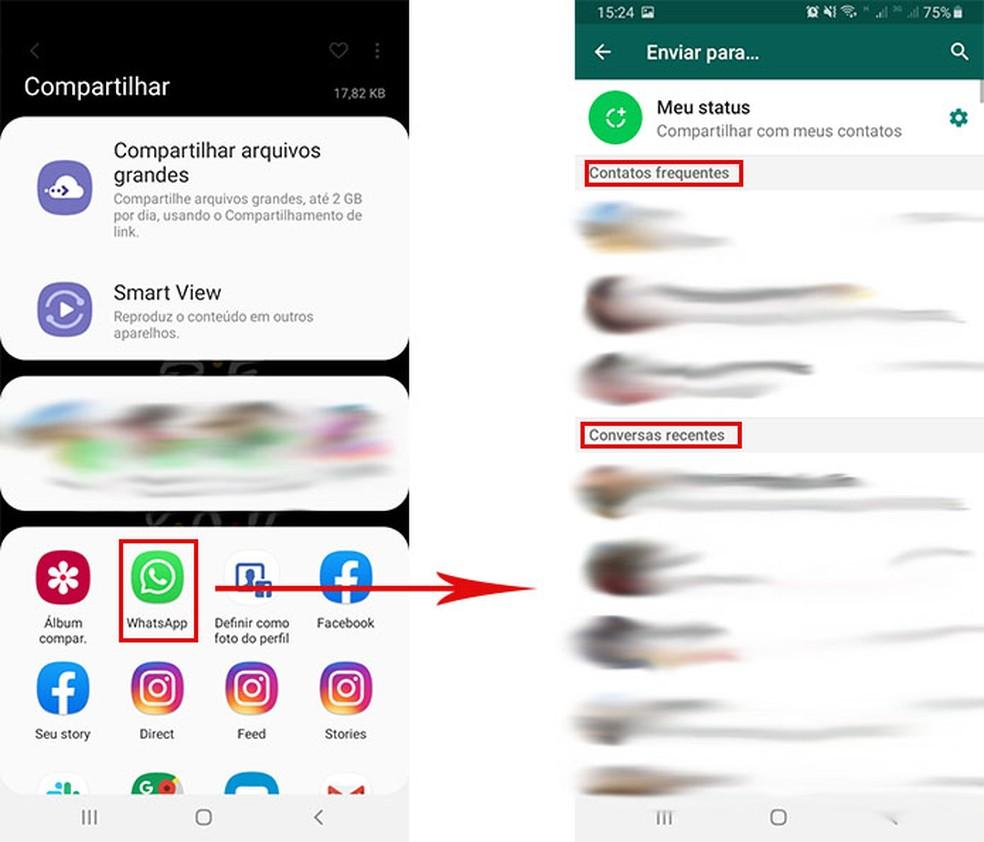 Tela mostra lista de contatos frequentes e recentes no WhatsApp — Foto: Reprodução/Fernanda Lutfi