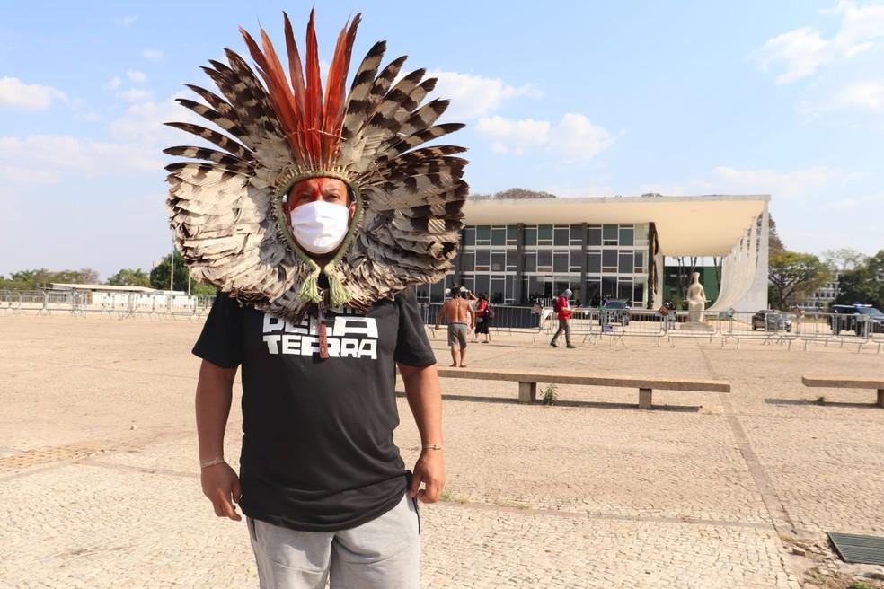 Kretã Kaingang, coordenador-executivo da Articulação dos Povos Indígenas do Brasil (Apib) — Foto: Carolina Cruz/G1