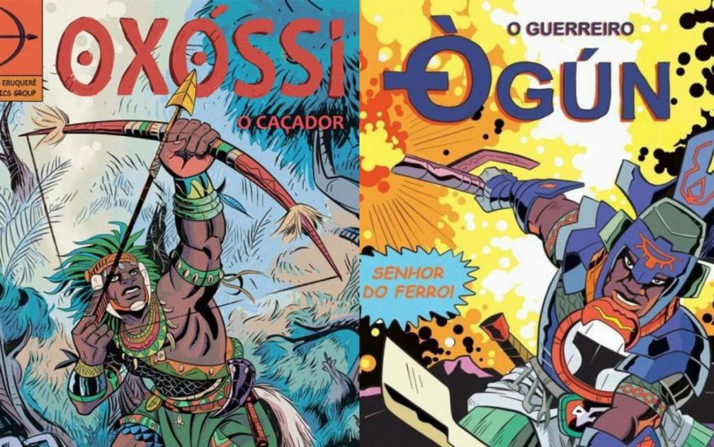 Orixás guerreiros como Ògún, o senhor do ferro, e Oxóssi, o caçador, são retratados nas HQs de Hugo Canuto — Foto: Hugo Canuto/Reprodução