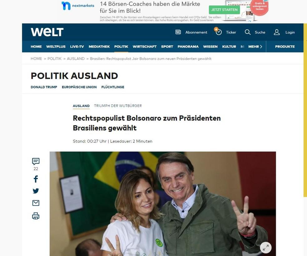 """Jornal alemão """"Die Welt"""" noticia vitória de Bolsonaro — Foto: Reprodução/Die Welt"""