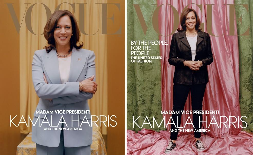 """Capa da edição de fevereiro da revista """"Vogue"""" dos Estados Unidos, com a vice-presidente eleita Kamala Harris, foi divulgada em 10 de janeiro de 2020 — Foto: Reprodução/Revista Vogue"""