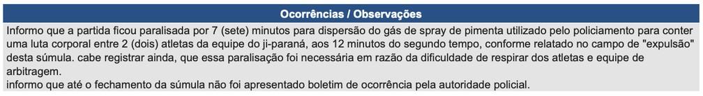 Em súmula, árbitro explica que o jogo teve que ser paralisado por 7 minutos, para que o spray de pimenta fosse dispersado — Foto: Reprodução/CBF
