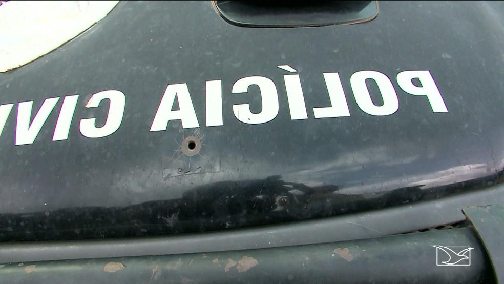 Viaturas da Polícia Civil do Maranhão estão sem passar por manutenção. (Foto: Reprodução/TV Mirante)