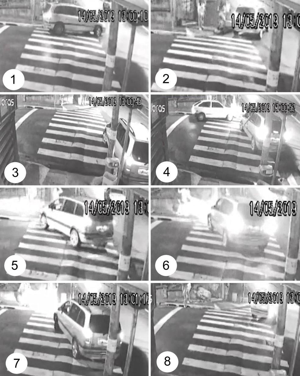 1) Motorista para o carro para conversar com travestis; 2) Na esquina, ele volta a falar com uma travesti; 3) Ele dá ré no veículo até bater no meio-fio; 4) Motorista avança o carro e espera outros veículos passarem; 5) Homem volta a discutir com uma travesti; 6) Ele avança o carro contra o grupo de travestis e bate em um muro de uma casa; 7) Motorista dá ré; 8) Ele foge do local — Foto: Reprodução