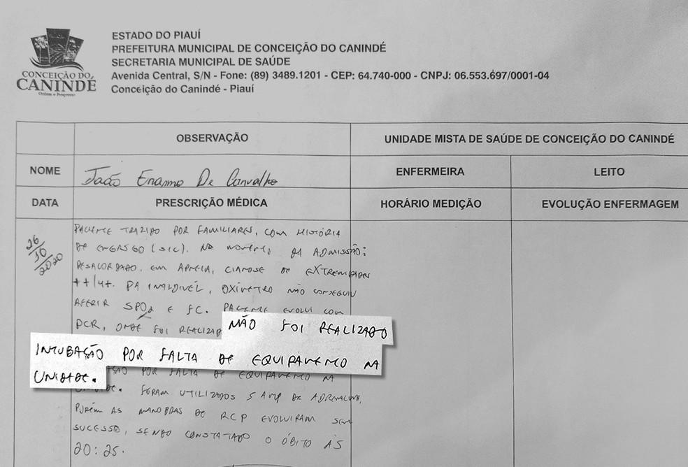 Paciente morre engasgado com carne no PI; UBS não tinha equipamento para intubação, diz ficha médica — Foto: Reprodução