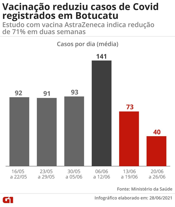 Vacinação reduziu casos de Covid registrados em Botucatu — Foto: Arte/G1