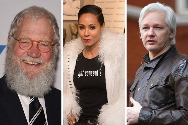 David Letterman, Jada Pinkett Smith e Julian Assange não gostaram muito da forma como foram retratados nas telonas (Foto: Getty Images)